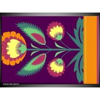 Glas schilderij Abstract | Paars, Geel, Oranje