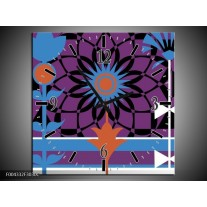 Wandklok op Canvas Abstract | Kleur: Paars, Zwart, Wit | F004332C
