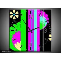 Wandklok op Canvas Abstract | Kleur: Groen, Zwart, Grijs | F004333C