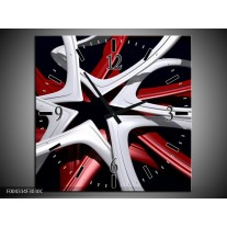 Wandklok op Canvas Design | Kleur: Rood, Grijs, Zwart | F004334C