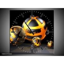 Wandklok op Canvas Design | Kleur: Oranje, Grijs, Zwart | F004337C