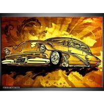 Glas schilderij Oldtimer | Geel, Zwart, Goud