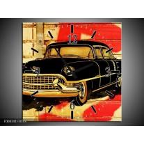 Wandklok op Canvas Oldtimer | Kleur: Zwart, Rood, Geel | F004341C