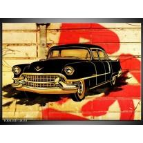 Glas schilderij Oldtimer | Zwart, Rood, Geel