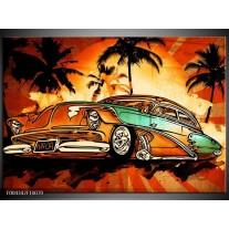 Glas schilderij Oldtimer | Geel, Oranje, Bruin