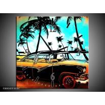 Wandklok op Canvas Oldtimer | Kleur: Blauw, Geel, Rood | F004343C