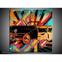 Wandklok op Canvas Oldtimer | Kleur: Paars, Geel, Rood | F004346C