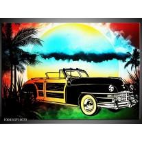 Foto canvas schilderij Oldtimer | Blauw, Geel, Zwart