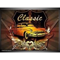 Glas schilderij Oldtimer | Geel, Bruin, Oranje