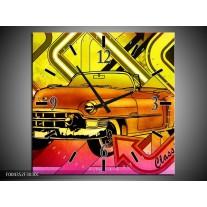 Wandklok op Canvas Oldtimer | Kleur: Geel, Rood, Roze | F004352C