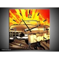 Wandklok op Canvas Oldtimer | Kleur: Geel, Rood, Zwart | F004353C