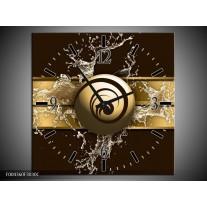 Wandklok op Canvas Modern | Kleur: Goud, Zwart, Bruin | F004360C