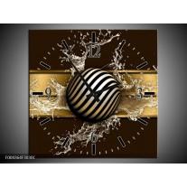 Wandklok op Canvas Modern | Kleur: Goud, Zwart, Bruin | F004364C