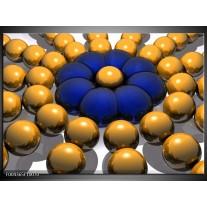 Foto canvas schilderij Modern | Goud, Blauw, Grijs