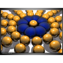 Glas schilderij Modern | Goud, Blauw, Grijs