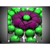 Wandklok op Canvas Modern | Kleur: Groen, Paars, Zwart | F004366C