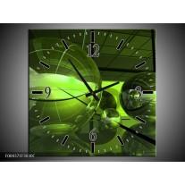 Wandklok op Canvas Modern | Kleur: Groen, Zwart | F004371C