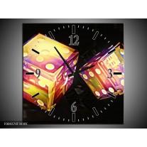 Wandklok op Canvas Modern | Kleur: Geel, Paars, Zwart | F004374C