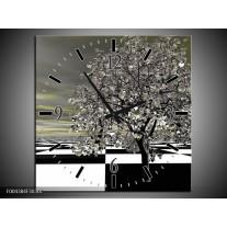 Wandklok op Canvas Boom | Kleur: Grijs, Zwart, Wit | F004384C