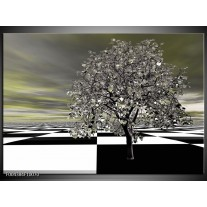 Glas schilderij Boom | Grijs, Zwart, Wit
