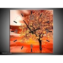 Wandklok op Canvas Boom | Kleur: Geel, Rood, Zwart | F004385C