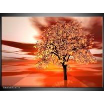 Glas schilderij Boom | Geel, Rood, Zwart