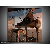 Wandklok op Canvas Piano | Kleur: Bruin, Grijs | F004387C
