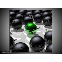 Wandklok op Canvas Design | Kleur: Groen, Zwart, Grijs | F004394C