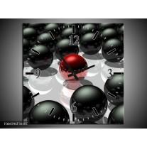 Wandklok op Canvas Design   Kleur: Rood, Zwart, Grijs   F004396C