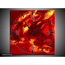 Wandklok op Canvas Design | Kleur: Rood, Geel, Oranje | F004401C