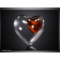 Glas schilderij Hart | Rood, Zwart, Grijs