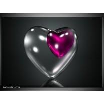 Glas schilderij Hart | Paars, Zwart, Grijs