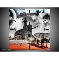 Wandklok op Canvas Design | Kleur: Rood, Grijs, Zwart | F004407C