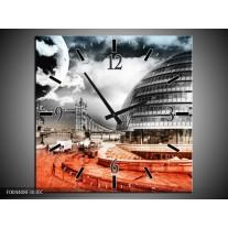 Wandklok op Canvas Modern | Kleur: Rood, Grijs, Zwart | F004408C