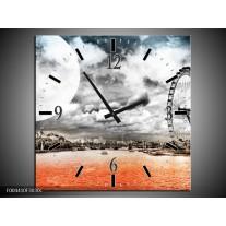 Wandklok op Canvas Modern | Kleur: Rood, Grijs, Zwart | F004410C