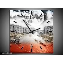 Wandklok op Canvas Modern | Kleur: Rood, Grijs, Zwart | F004412C