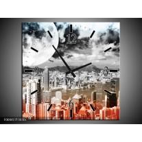 Wandklok op Canvas Modern | Kleur: Rood, Grijs, Zwart | F004417C