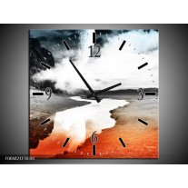 Wandklok op Canvas Modern | Kleur: Rood, Grijs, Zwart | F004421C
