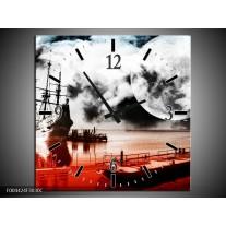 Wandklok op Canvas Modern | Kleur: Rood, Grijs, Zwart | F004424C