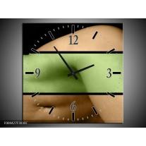 Wandklok op Canvas Lichaam | Kleur: Groen, Bruin, Zwart | F004427C
