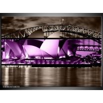 Glas schilderij Sydney | Paars, Grijs, Zwart