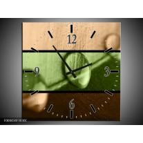 Wandklok op Canvas Modern | Kleur: Groen, Bruin | F004434C