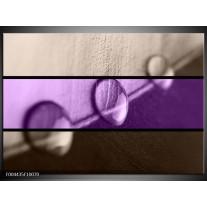 Glas schilderij Druppels | Paars, Bruin