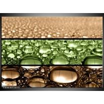 Glas schilderij Druppels | Groen, Bruin