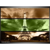 Glas schilderij Parijs | Groen, Bruin