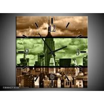 Wandklok op Canvas Modern | Kleur: Bruin, Groen | F004442C