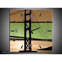 Wandklok op Canvas Brug | Kleur: Groen, Bruin, Zwart | F004445C