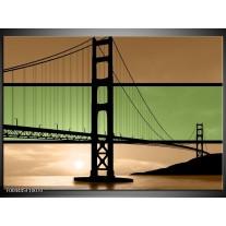 Glas schilderij Brug | Groen, Bruin, Zwart