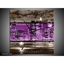 Wandklok op Canvas Modern   Kleur: Paars, Grijs, Zwart   F004448C