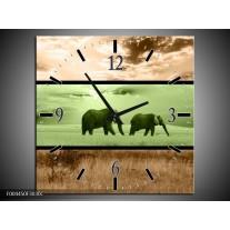Wandklok op Canvas Olifant | Kleur: Groen, Bruin | F004450C